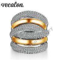 anillos de topacio amarillo oro blanco al por mayor-Vecalon 234pcs Topaz diamante simulado Cz anillo de bodas de compromiso cruzado para las mujeres 14KT anillo de banda de oro blanco lleno de oro amarillo