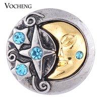 Wholesale Blue Stars Buttons - VOCHENG NOOSA 18mm 2 Colors Moon&Star Metal Snap Button Vn-1081