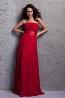 vestidos vermelho carmesim venda por atacado-2018 novo design vermelho chiffon strapless carmesim com cinto a linha vestido de baile vestido de baile vestido de baile popular da dama de honra