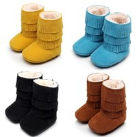 Wholesale First Quality Furs - New Brown Baby Boys Boots Solid 0-3year Snow Winter Newborn Moccasin Bebe First Walkers Girls Boot Children Shoe Fur Top Quality