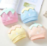 Wholesale Hats Strawberry - New Infant Baby Hats Kids Strawberry Cartoon Cotton Newborn Hats Boys Girls Caps Hats M113