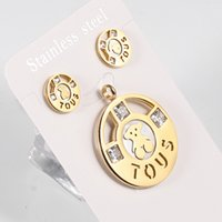 Wholesale White Gold Stud Earring Sets - TL Stainless Steel Bear Jewelry Set Hight Quality Zircon Gold Round Shape Pendent Jewelry Set With Stud Earrings