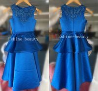 Nuovo arrivo Lovely Dark Royal Blue Bambina Tires Con Appliques Satin A-line senza maniche lungo Flower Girl Dresses Prom Gowns