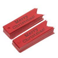 dekorative geschenkanhänger großhandel-Großhandel 100 teile / los Dekorative Frohe Weihnachten Papier Geschenk Tags Label Hängende Karten DIY Home Party Dekorationen Weihnachten Zubehör