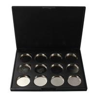 aluminium kosmetikbox großhandel-Neue 12 Grid Schwarz Leere Lidschatten Concealer Aluminium Palette Pfannen Makeup Tools Kosmetik DIY Box Mode 26 MM
