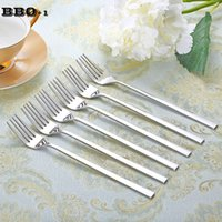 HOT 6pcs 8.5''Stainless Steel Dinner Fork Quatro Tine Coreano Long Handle Table Fork set Salada Sobremesa Fruit Forks Talheres Talheres