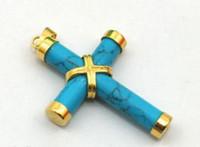 anel de ouro amarelo jade venda por atacado-2016 hot comprar pérola jade pulseira anel brinco colar de pingente de turquesa banhado a ouro amarelo colar de pingente de cruz