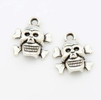 Wholesale European Charm Bracelet Pendant - Halloween Skull Charm Beads 200pcs lot 14.5x12.9mm Antique Silver Pendants Fit European Charm Bracelets Jewelry DIY L975