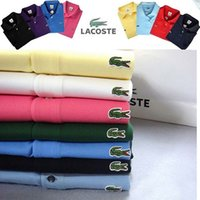 Wholesale New Boys Down Clothing - New 2017 Summer Brand POLO Shirt Men Cotton Fashion Men's Top quality Crocodile Embroidery Polo Summer Short-sleeve Casual Shirts clothing