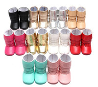 Wholesale Wholesale Moccasins Boots - Leather baby shoes moccasins layers tassels Suede ankle boot booties infant girl boy shoes prewalker booties toddlers shoes Fall winter 2016