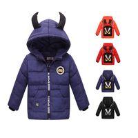 Wholesale Little Boys Winter Coats - Baby Kids Clothing Outwear Coat 2017 Winter Baby Kids Girls Boys Warm Outerwear Cartoon little devil's backpack Down Jacket Snowsuit Coat