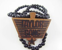 Wholesale Dancers Necklaces - Taylor Gang Pendant Good Wood Hip-Hop Wooden Fashion Dancer Necklace Black Natural Color