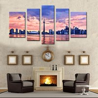 Wholesale city landscape oil paintings for sale - 5 Piece Wall Art Painting Toronto Prints On Canvas The Picture City Oil For Home Modern Decoration Print Decor For Furniture
