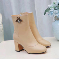 Wholesale Round Pearl Buttons - sale! free ship! u755 40 3 colors genuine leather pearl bee thick heel short boots autumn fashion celeb