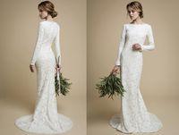 Wholesale Tight Sleeve Wedding - 2017 Elegant Mermaid Wedding Dress Vintage Sexy Berta Lace tight fit Bridal Dresses Long Sleeves Boho Sheer Garden Wedding Gowns Casamento