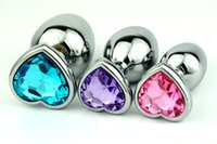 Wholesale Butt Plugs Jewels - new heart shaped anal plug Butt plug sex anal toys Random Colors Metal cystal Jewel 3 size for your choice