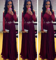 Wholesale Maroon Chiffon - Hot Sale Maroon Off-Shoulder Long Sleeves Evening Gowns Long Chiffon Evening Dresses 2016 Sexy Evening Wear with beaded
