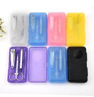 Wholesale Color Scissors - 4Pcs set Nails Clipper Kit Manicure Set Clippers Trimmers Pedicure Scissor Random Color Nail Tools Sets Kits Manicure Tool KKA2826