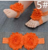 kız 3adet çiçek dantel toptan satış-3 adet / 1 takım SıCAK Renkli dantel Ayak Çiçek Yalınayak Sandalet + Kafa Bebek Bebekler Kız 14 Renkler için Set dantel şifon ücretsiz shipping10set mix