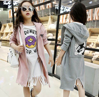 Wholesale Girls Dust Coat - 2016 Autumn New Girl dust coat Cartoon Mouse Long Sleeve Fashion Coat Doughnut Tassels White T shirts Children Clothes DD057