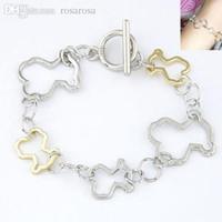 Wholesale Teddy Bear Silver Chain - Wholesale-Pulseras Mujer Bracelets for Women Men Pulseiras Feminina Masculina Metal Teddy Bear Shape Gold Silver Femme Bracelets &