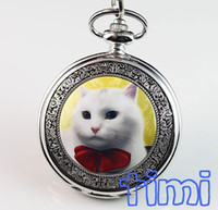 Gros-Hot Sell Lovely Cat Artistique Pendentif Pocket Quartz animal Montre NEW Fashion