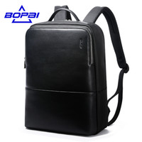 Wholesale Travel Backpack Cooler - 2017 BOPAI Cool Mens Backpacks Man Rucksack 14 Inch Laptop Bag Student Schoolbags Men Travel Leather Backpack Bags Black Bags