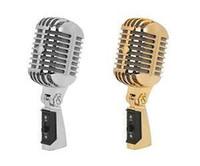 micrófonos de transmisión al por mayor-Micrófono profesional giratorio de la vendimia Micrófonos dinámicos clásicos Micrófono retro para la difusión del concierto vocal KTV