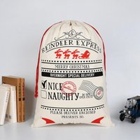 Wholesale Cheap Christmas Reindeer - cheap price Christmas Gift Bags 50x70cm Santa Sack Drawstring Bag With Reindeers Santa Claus Sack Bags Large Organic Heavy Canvas Bag