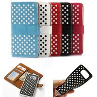 Wholesale Iphone Polka Wallet - For Samsung Galaxy S6 S7 edge iphone6 4.7 Wave Point Polka Dot Leather 2 in 1 Transparent TPU Wallet Flip case Cover