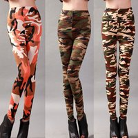 Wholesale Black Silk Leggings - Camouflage Printed High Elastic Milk Silk Leggings Skinny Pants Elastic Pencil Pants For Women