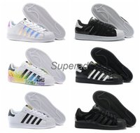 Wholesale Light Up Stars - 2016 Originals Superstar White Hologram Iridescent Junior Superstars 80s Pride Sneakers Super Star Women Men Sport Running Shoes 36-45