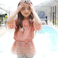 Wholesale Lace Long Sleeved Loose Top - New Arrival Sweet Kids Girls Lace Tassels Tees Hollow Out Design Pink and White Beach Top Loose Blouse