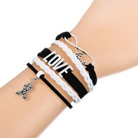 Wholesale Heart Ribbon Sliders - Trendy Multilayer Braided Bracelet With Infinity LOVE Ribbon Pendant Pink and White Adjustable Leather Bracelets For Cross Lover