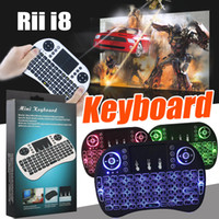 Wholesale Wireless Pc Gaming Pad - Rii i8 Mini Keyboard 2.4GHz Wireless Backlight Gaming Keyboards Air Mouse Remote Control For PC Pad Google Andriod TV Box Xbox360 PS3 OTG