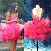 Wholesale Lace Cupcake Lines - Custom Made Pink Girls Pageant Dresses 2017 Appliques Backless Short Prom Party Wears Gowns Tier Ruffles Cupcake Cocktail homecoming Dresses