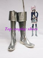 Wholesale vocaloid cosplay custom - Wholesale-Freeshipping Vocaloid Silver PU Leather Cosplay Boots shoes custom-made for Halloween Christmas festival