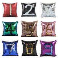 Wholesale Bright Hotels - magic reversible Sequin Throw Pillow Case Bedding Supplies Cushion Cover Home Sofa Car Decor Bright Pillowcases Pillowslip 40*40cm