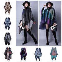 Wholesale Oversized Knitted Scarf - 18 styles Winter designer Oversized Thick Warm Plaid Scarves Knit Shawl Fashion Vintage Pashmina Cashmere Scarf Women Poncho Cape YYA454
