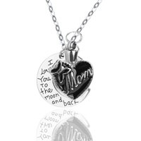 Wholesale Cremation Jewelry Necklace Mom - Stainless Steel Pendant DIY Mom Bow Heart Urn Necklace Cremation Jewelry with Gift Bag and Funnel