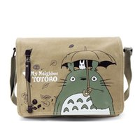 Wholesale Totoro Cell Phone Wholesale - Wholesale- One Piece Totoro Bag Men Messenger Bags Canvas Shoulder Bag Lovely Cartoon Anime Neighbor Crossbody School Letter Bag