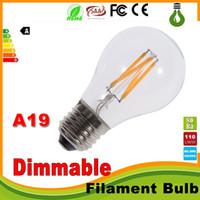 Wholesale edison style light bulbs - Super bright dimmable E27 A19 Edison Style Vintage Retro COB LED Filament Light Bulb Lamp Warm White 85-265V retro LED filament bulb