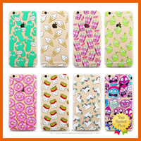 Wholesale Cute Iphone Covers Wholesale - Cute Pattern Soft Silicone TPU Clear Hard Back Case Cover Cartoon Protective Cases For iPhone 5 6 6s Plus