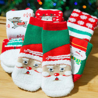 Wholesale Striped Santa Socks - Christmas Baby Socks Girls Winter Socks Cartoon Socks Toddler Santa Claus Elk Hosiery Kids Tree Snowman Footwear Booties 6 styles OOA2824