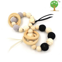 Beaded, Strands organic rope - 2pcs sale organic wooden nursing toy teether baby toy new mum eco friendly black grey ET916
