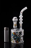 Wholesale Nails Cartoons - Cartoon Cylindrical Cup Hookahs Cute Bongs Glass White Water Pipes Percolator Recycler Oil Rigs Bubblers Perc with Nail