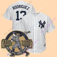 Wholesale New Hit - Alex Rodriguez Jersey with 3000th Hit Patch Men New York Yankees Home Away Flexbase Cool Base Vintage Cream White Pinstripe