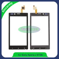 Wholesale J St26i - Touch Screen Digitizer For Sony Xperia J ST26i ST26 ST26a Front Touch Glass Lens Panel With Sensor Replacement Black