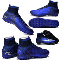 Wholesale Sg Purple - Wholesale Mercurial Superfly CR7 SG-PRO Adult Children's Artificial Turf High Ankle Soccer Shoes Natural Turf Kids CR7 Soccer Cleats 35-45