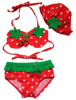 Wholesale Strawberry Bikini - Kids Swimwear Baby Girl Bikini Strawberry Baby Swimsuit Top+Skirt+Hat 3 Pcs Bathing Suit Bikini with Swimming Cap
